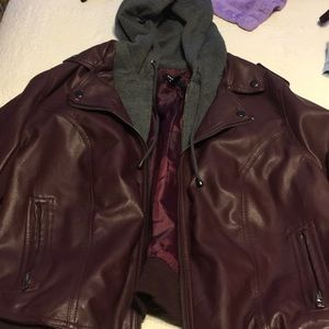 Size 1 faux leather jacket with cotton hood